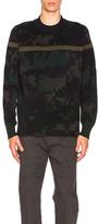 Sacai Camouflage Sweater in Blue,Geometric Print,Green.