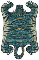 Loloi Rugs Teal Faux Tiger Feroz Area Rug-Loloi X Justina Blakeney Collection, 5'