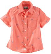 Osh Kosh Toddler Boy Paddle Print Short Sleeve Poplin Button-Down Shirt