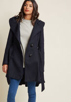 Steve Madden Once Upon a Thyme Coat in Midnight Blue in 1X - Fit & Flare Coat by from ModCloth
