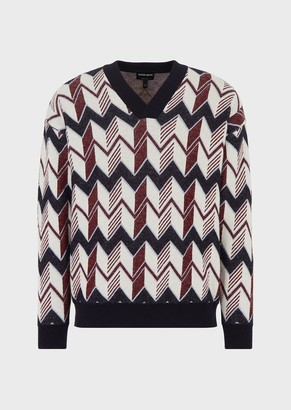 Giorgio Armani Wool-And-Cashmere Sweater With Oversized Chevron