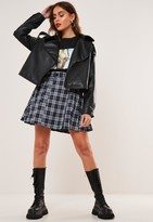 Missguided Navy Check Button Skater Skirt