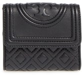 Tory Burch Women's 'Mini Fleming' Quilted Lambskin Leather Wallet - Black