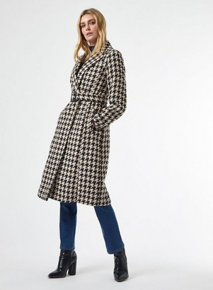 Dorothy Perkins Womens Monochrome Dogtooth Belted Wrap Coat