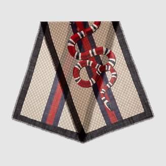 Gucci Web and Kingsnake print wool scarf