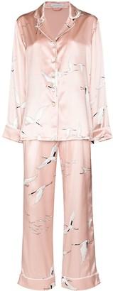 Olivia von Halle Bird Print Two-Piece Pajama Set