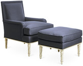 Bunny Williams Home Azure Accent Chair & Ottoman Set - Navy