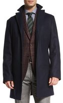 Kiton Cashmere Single-Breasted Car Coat, Navy