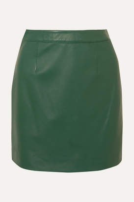ALEXACHUNG B-line Leather Mini Skirt - Green