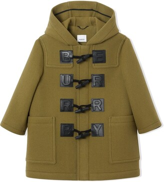 BURBERRY KIDS Logo Detail Wool Cashmere Blend Duffle Coat