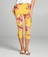 Yellow & Coral Floral Capri Leggings