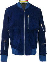 Paul Smith zip pocket bomber jacket - men - Suede - L