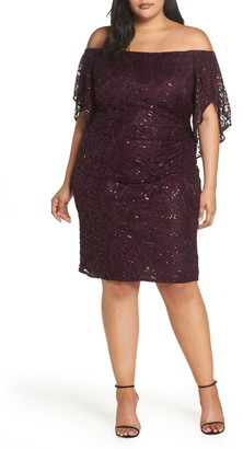 Morgan & Co. Sequin Off the Shoulder Cocktail Dress