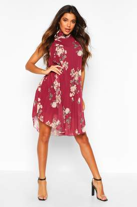 boohoo Floral Print Pleated Shift Dress