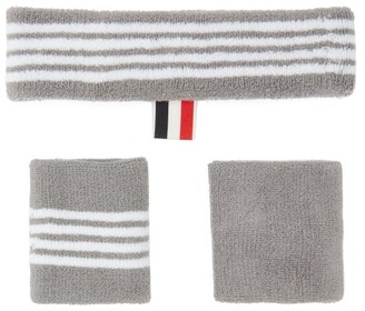 Thom Browne Four-bar Cotton-towelling Sweatband Set - Grey