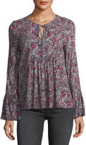 BCBGeneration Long-Sleeve Floral Tie-Neck Top