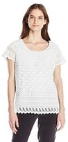 Notations Women's Short Sleeve Lace Top with Cotton Jersey Back