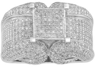 Kc Jewelry Sterling Silver 2ct TDW Micropave Diamond Engagement Ring