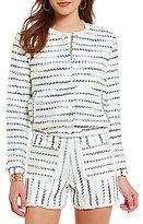Lucy Paris Striped Tweed Bomber Jacket