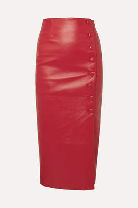 MATÉRIEL Button-embellished Faux Leather Midi Skirt - Red