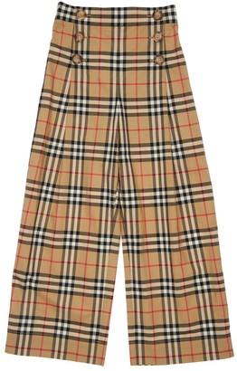 Burberry High Waist Check Cotton Pants