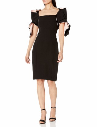 Badgley Mischka Women's Two Tone Origami Sleeve Dress