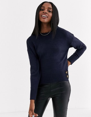 Brave Soul crew neck jumper with button detail in navy