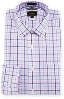 Neiman Marcus Luxury Tech Classic-Fit Plaid-Print Dress Shirt, Pink