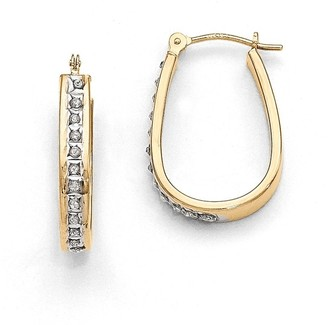 Curata 14k Yellow Gold Diamond Accent Squared Hinged Hoop Earrings