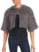 La Fiorentina Solid Rabbit Fur Cropped Jacket