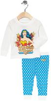 Intimo White & Aqua Wonder Woman Pajama Set - Infant & Girls