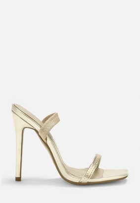 Missguided Gold Elastic Strap Barely There Heels
