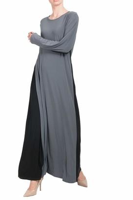 Hijab Gem Contrast Panel Abaya-10/52-Grey/Black