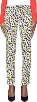 Thierry Mugler White Leopard Print Applique Trousers