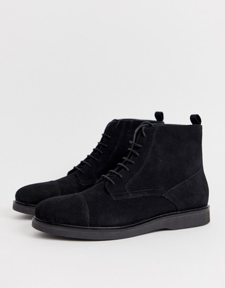 H By Hudson Calverston toe cap boots in black suede