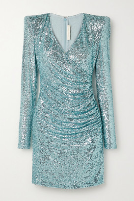 Naeem Khan Wrap-effect Draped Sequined Tulle Mini Dress - Sky blue