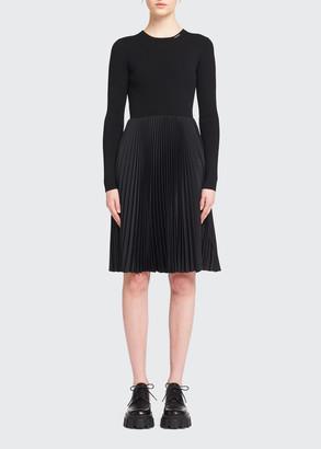 Prada Mixed-Media Pleated Ribbed Dress
