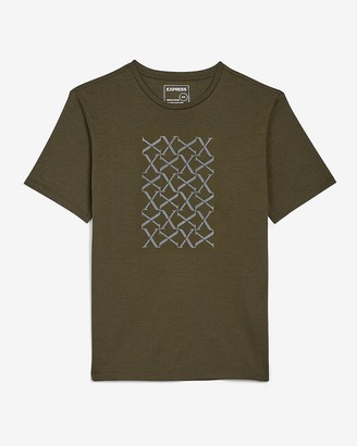 Express Rotated Logo Grid Moisture-Wicking Graphic T-Shirt