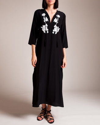 MARIE FRANCE VAN DAMME Embroidered Midi Hammer Caftan