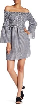Max Studio Shirred Off-the-Shoulder Bell Sleeve Gingham Dress