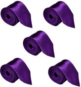"""FoMann Mens Formal Tie Wholesale Lot of 5 Mens Solid Color Wedding Ties 3.5"""" Satin Finish"""