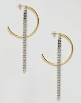 Asos Limited Edition Half Hoop And Chain Drop Earrings