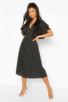boohoo Mix Scale Polka Dot Ruffle Sleeve Midi Dress