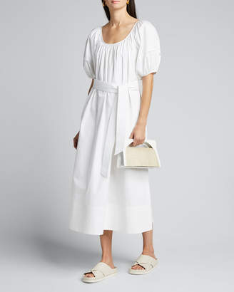 Co Puff-Sleeve Tie-Waist Poplin Maxi Dress