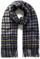 Mulberry Large Check Lambswool Scarf Midnight Lambswool