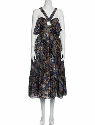 Ulla Johnson Printed Long Dress Black