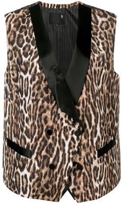 R 13 Leopard Print Waistcoat