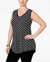 INC International Concepts Plus Size Striped Sleeveless Top, Only at Macy's