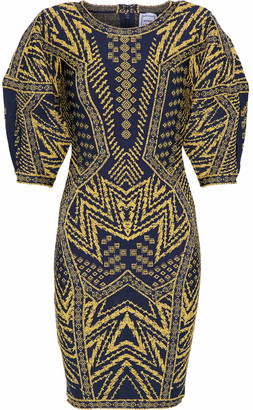 Herve Leger Metallic Jacquard-knit Mini Dress
