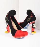 Irregular Choice Black & Red Suede Mickey Mouse Platform Pumps Shoes